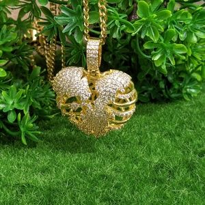 """Iced Out Hungry Heart Pendant & 20"""" Cuban Chain"""